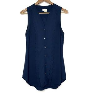 Anthro {Meadow Rue} Navy Sleeveless Scalloped Top